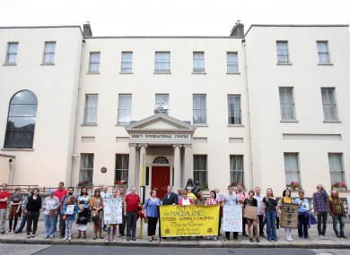 Members of the Redress for Magdalenes campaign group pickets the Sisters of Mercy, Catherine McAuley Centre on Baggot street Dublin in July.