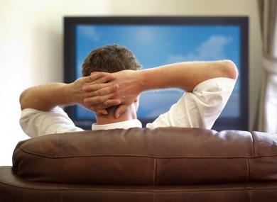 Man watching his TV.