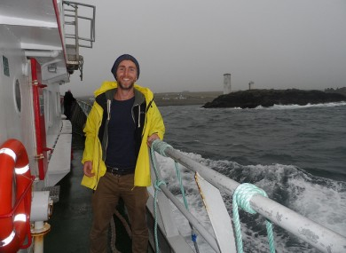 Ruairi on the boat to Inishboffin
