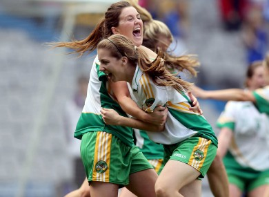 Emma Dalton and Mairead Daly of Offaly celebrate at the final whistle.