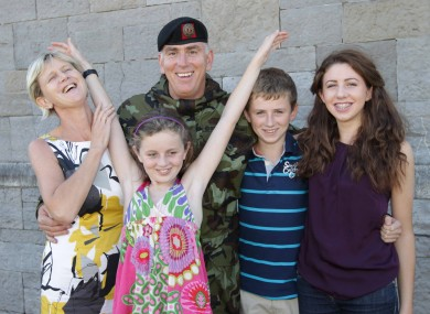 Lieutenant Colonel Brendan Delany, pictured with his family, wife Mairead, Niamh (11), Joe (14) and Siobhan (15) today at Cathal Brugha Barracks.