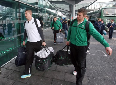 Jamie Heaslip and Sean O'Brien carry their bags into Dublin Airport back in March.
