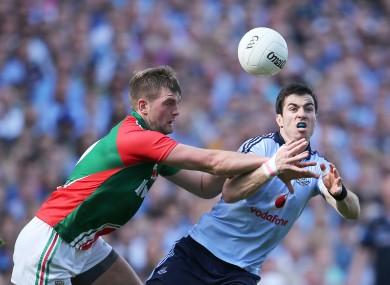 Mayo's Aidan O'Shea and Dublin's Michael Darragh MacAuley.