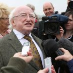 President Michael D Higgins speaks to the media.<span class=