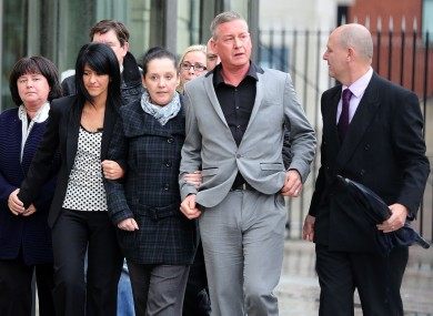 Aine Adams (third right), daughter of Liam Adams, leaves Belfast Crown Court after her father, the younger brother of Sinn Féin president Gerry Adams, was found guilty of a string of child sex abuse charges.