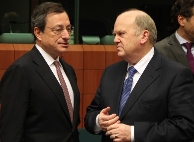 Mario Draghi with Michael Noonan in Brussels in 2012.
