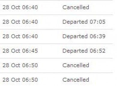 The departures at Dublin Airport shows the cancelled flights