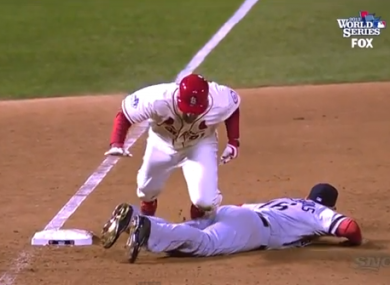 Allen Craig goes for a tumble after failing to vault Will Middlebrooks.