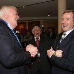 Enda Kenny, shares a joke with Kieran Calnan (left) and Dermot Collins<span class=