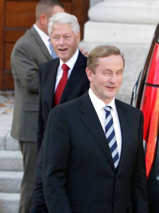 Former US President Bill Clinton and Enda Kenny at government buildings this week.
