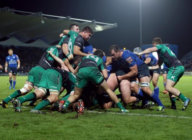 Tiernan O'Halloran (14) fails to prevent the Leinster pack forcing a penalty try.