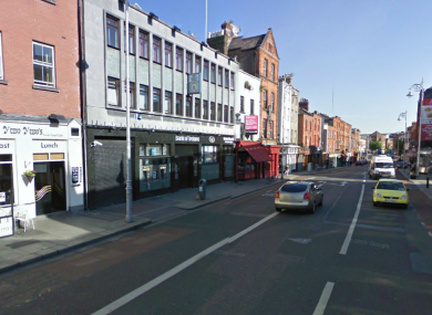 The area outside the Bank of Ireland on Lower Camden Street is sealed off this morning (File photo)