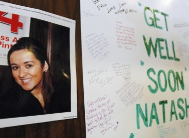 Images 2010 file photo of a 'get well' message posted for Natasha in the Chicago bar where she worked