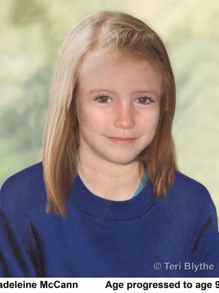 Photo of an age progression image of the missing child, Madeleine McCann.