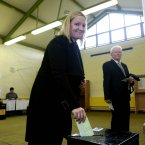 Lucinda Creighton in St. Mary's National School in Donnybrook, Dublin 4 this morning.<span class=