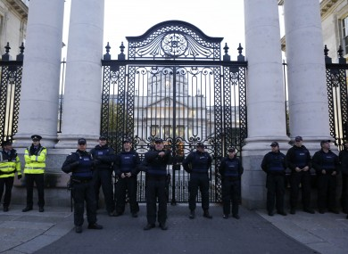 Gardaí outside Government Buildings on Budget Day on Tuesday.