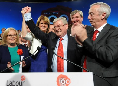 Labour leader Eamon Gilmore flanked by the party faithful at last year's conference