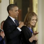 Gloria Steinem, co-founder of Ms. Magazine receives the Presidential Medal of Freedom. <span class=