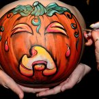 Two expectant mothers celebrate Halloween by having pumpkins painted on their bumps. They were painted by artist Jane Pryde from Allendale, Northumberland.<span class=