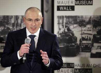 Mikhail Khodorkovsky speaks during his first news conference after his release in Berlin earlier today.