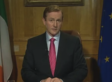 Enda Kenny giving an address to the nation in December 2011