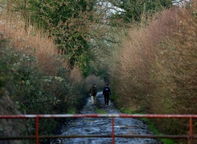 A road sealed off by gardai leading to a crime scene in Kilbride, Clara, Co Offaly.