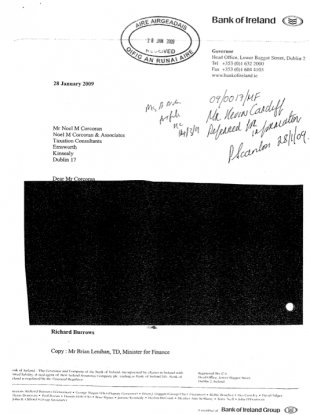 The original, unredacted version of this letter has gone missing in the Department of Finance