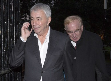 File: Former CRC CEO Paul Kiely followed by Chairman James Nugent leave Leinster House