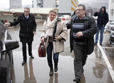 Corinna Schumacher arrives at the Grenoble hospital where her husband is being treated (file photo).