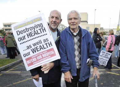 Demonstrators at a protest against cuts at Blanchardstown Hospital in 2011