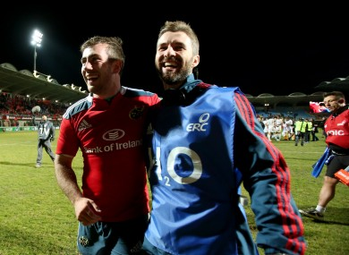 JJ Hanrahan celebrates with Munster strength and conditioning coach Aled Walters.