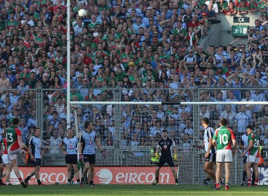 Mayo's Cillian O'Connor kicks a late point in last September's All-Ireland final.