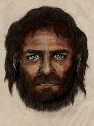 The reconstruction of the 7,000-year-old man's face.