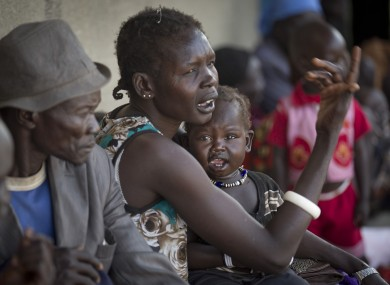 Displaced people who fled from recent fighting in Bor queue outside a clinic run by Medecins Sans Frontieres (Doctors Without Borders).