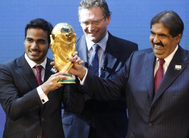 FIFA Secretary General Jerome Valcke (middle) with Mohamed bin Hamad Al-Thani, Chairman of the 2022 bid committee (left) and Hamad bin Khalifa Al-Thani.