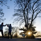 Adrian Primavesi (left) and Mikey Burton take part in early morning boxing training in Brockwell Park, south London.<span class=