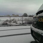Snowing right outside our door of Shannonside FM<span class=
