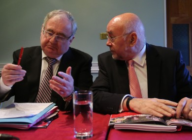 Ministers Pat Rabbitte and Ruairí Quinn at the Labour conference in Meath today