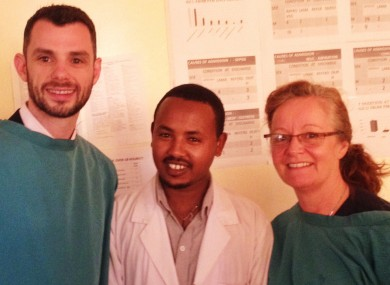 VSO Director Malcolm Quigley (right), Dr. Lemesgnieu, head of one of the NICUs, and Paediatric Nurse Patricia Doyle.