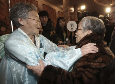 Kim Sung-yoon (96) (right) from South Kora meets with her sister Kim Seok Ryu (80) from North Korea.