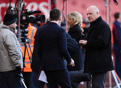 BT Sport pundit Andy Gray (right) before kick-off during the weekend FA Cup game between Arsenal and Liverpool.