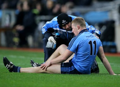 Ciaran Kilkenny is tended to by a Dublin medic.