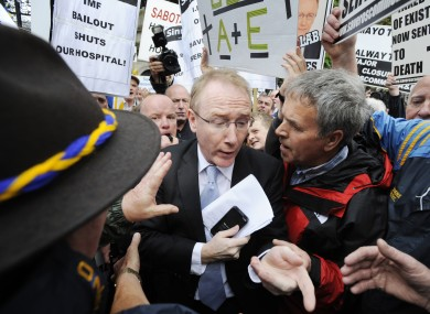 Fine Gael's Frank Feighan making his way through the crowds at a protest in 2011 against the changes in the hospital.