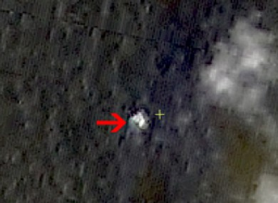 A satellite image shows floating objects in the sea near the southern tip of Vietnam. However no debris was found at the site.