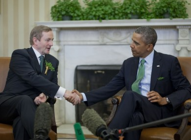 President Barack Obama shakes hands with Irish Prime Minister Enda Kenny
