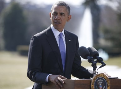President Barack Obama makes a statement on Ukraine today outside the White House.