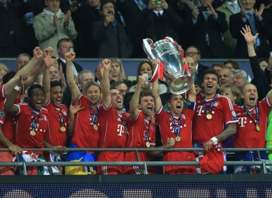 Philipp Lahm lifts the trophy last May.