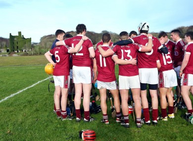 The NUI Galway hurling team huddle before a recent Fitzgibbon Cup game
