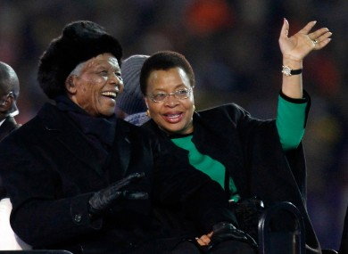 Mandela and Machel at the World Cup final in Johannesburg in 2010.
