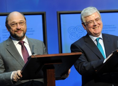 Martin Schulz with Eamon Gilmore on a visit to Dublin last year.